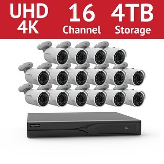 LaView 16 Channel UHD 4K IP NVR with (16) 4MP Bullet Cameras and a 4TB HDD