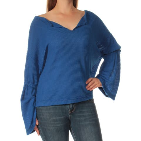WE THE FREE Womens Purple Bell Sleeve Boat Neck Top Size: L