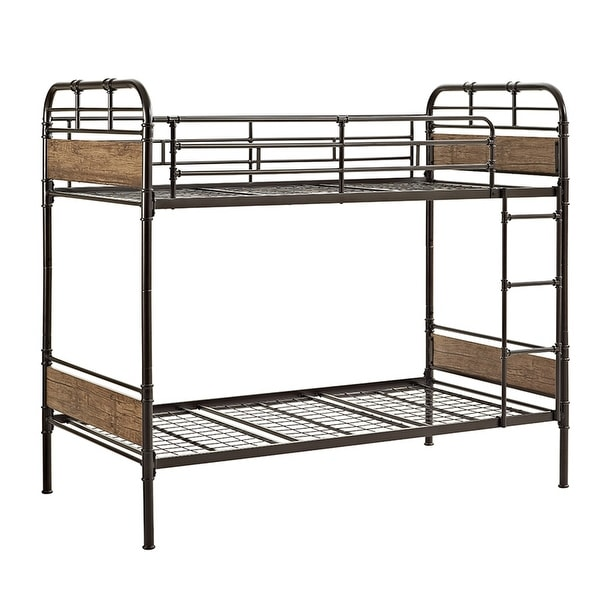 Offex Kids Distressed Metal and Wood Twin over Twin Bunk Bed - Black