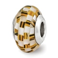 Sterling Silver Reflections Tiger's Eye and White MOP Mosaic Bead (4mm Diameter Hole) - Thumbnail 0
