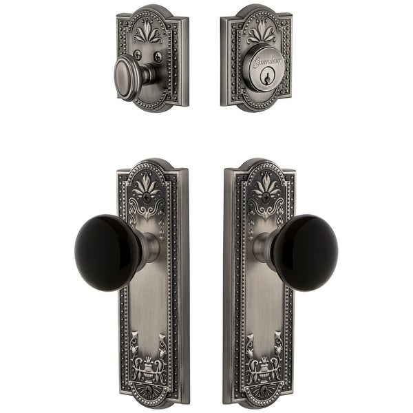 Grandeur PARCOV_SP_ESET_238 Parthenon Solid Brass Rose Single Cylinder Keyed Entry Deadbolt and Knobset Combo Pack with