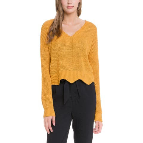 Endless Rose Womens Pullover Sweater Cable Knit Chew - Mustard - M