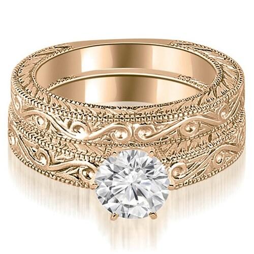 0.50 cttw. 14K Rose Gold Antique Round Cut Diamond Bridal Set