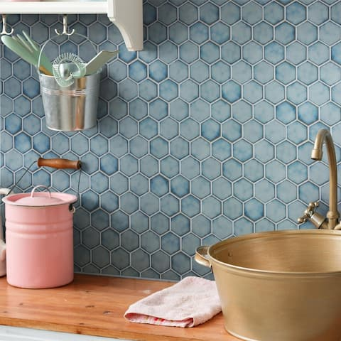 "SomerTile Hudson Due 2"" Hex 12.5""x 11.25"" Marine Porcelain Mosaic Tile"