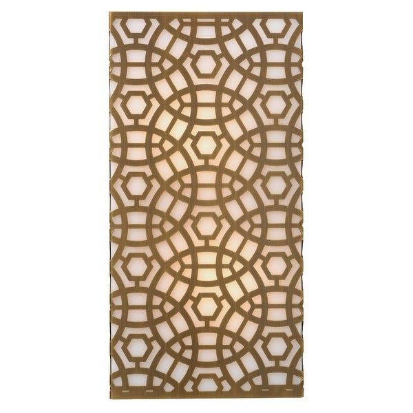 """16"""" Antique Brass Gold Rectangular Geometric Pattern Geo Wall Sconce - Large - N/A"""