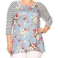 Women - Plus Size Striped Sleeve Floral Printed Raglan Jersey Tunic Knit Top Tee Blue