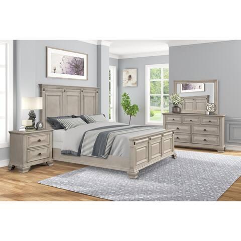 Renova Distressed Parchment Wood Bedroom Set, Panel Bed, Dresser, Mirror, Nightstand