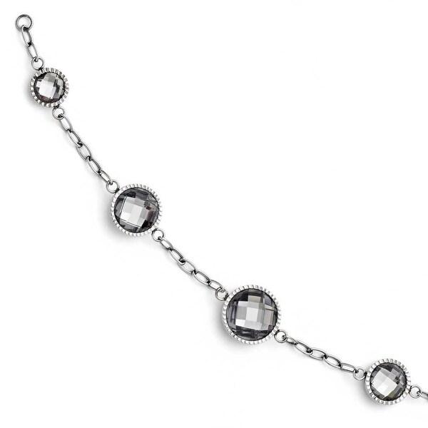 Chisel Stainless Steel Glass Polished Bracelet
