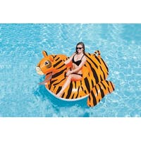 7.5' Water Sports Inflatable Giant Tiger Swimming Pool Ride-On Lounger - Orange