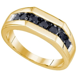 10kt Yellow Gold Mens Round Black Colored Diamond Band Wedding Anniversary Ring 1.00 Cttw