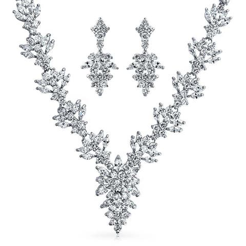 Bridal Prom Collar Statement Necklace Earring Set For Wedding Women Bride Marquise Cubic Zirconia CZ Silver Tone Brass