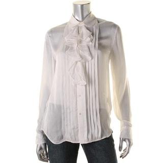 Polo Ralph Lauren Womens Button-Down Top Silk Ruffled