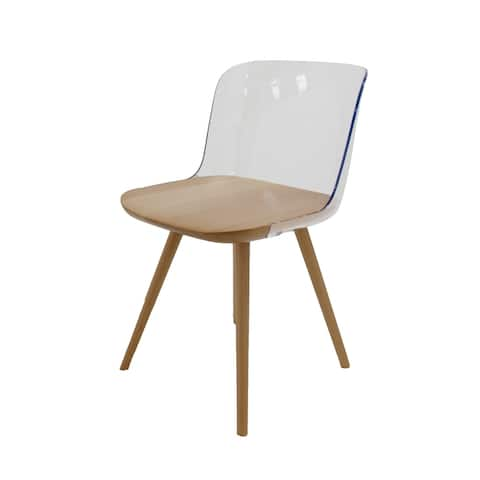 Clare Transparent Modern Accent Dining Chair with Solid Seat and Legs
