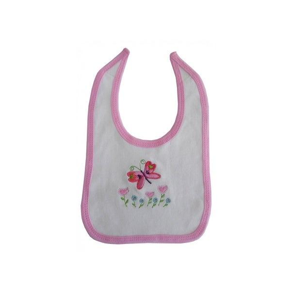 Bambini Baby Bambini 2-Ply Interlock White With Pink Trim Infant Bib - 1022P