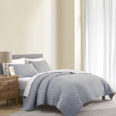 Wonderful Brushed Microfiber Flannel Heathered Quilt Set