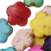 Dyed Magnesite Gemstone Beads, Puff Flowers 15mm, 15.5 Inch Strand, Multi Color