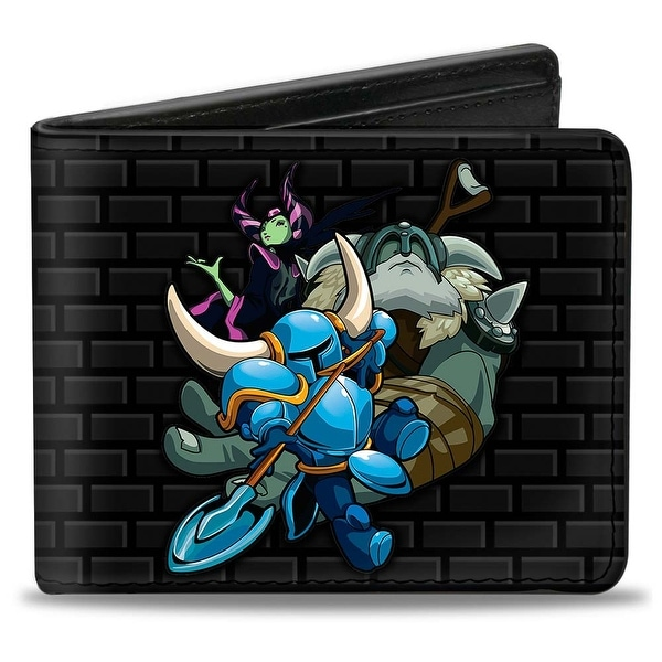 Shovel Knight The Enchantress Polar Knight Group + Logo Bricks Black Gray Bi-Fold Wallet - One Size Fits most