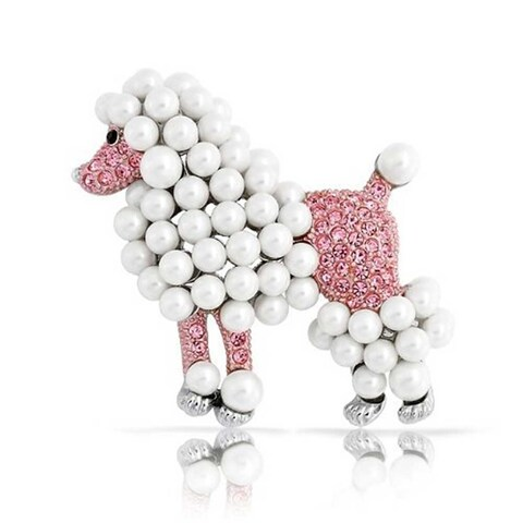 Bling Jewelry Poodle Pink Crystal Imitation Pearl Pin Rhodium Plated