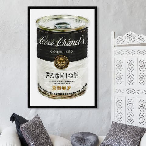 Oliver Gal 'Fashion Soup' Fashion and Glam Framed Wall Art Prints Soup Can - Black, White