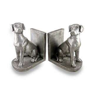 Antique Silver Finish Sitting Dog Bookends Lab Set of 2