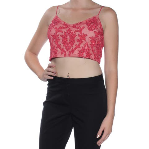 ADRIANNA PAPELL Womens Red Sequined Spaghetti Strap V Neck Crop Top Top Petites Size: 10