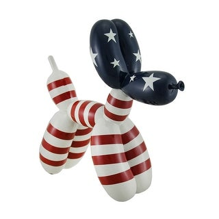 10 in. Red White & Blue Balloon Dog American Flag Animal Art Sculpture - Multicolored