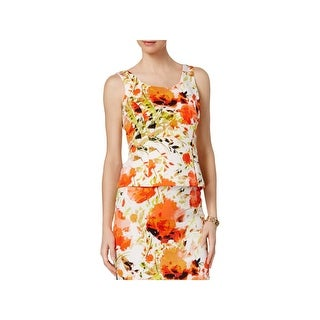 Kasper Womens Petites Tank Top Scuba Floral Print