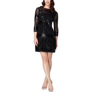 Tahari ASL Womens Cocktail Dress Sequined Feather