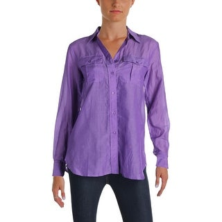 Lauren Ralph Lauren Womens Button-Down Top Long Sleeves Chest Pockets