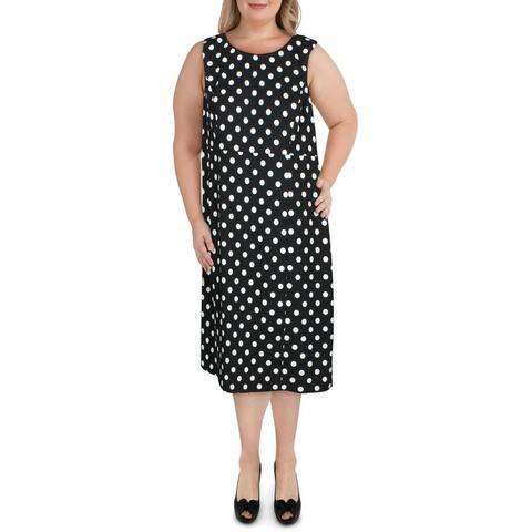 Kasper Womens Plus Scuba Dress Woven Polka Dot - Black-White