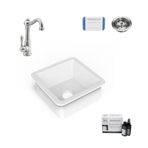 """Amplify Undermount Fireclay 18.1"""" Bar Prep Sink with Marielle Faucet and Drain. Opens flyout."""