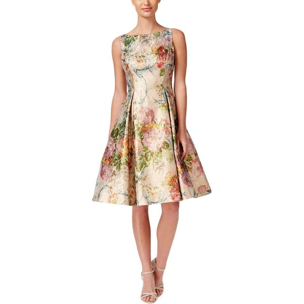 Shop Adrianna Papell Womens Party Dress Metallic Floral