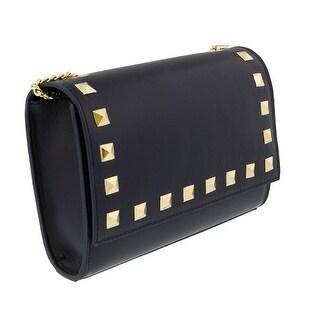 Scheilan  Navy Leather Studded Flap  Shoulder Bag - 8.5-6-2.5