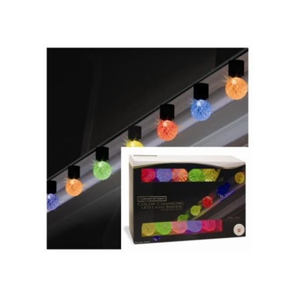 Set of 10 Color Changing Light Show LED G40 Christmas Lights - Green Wire