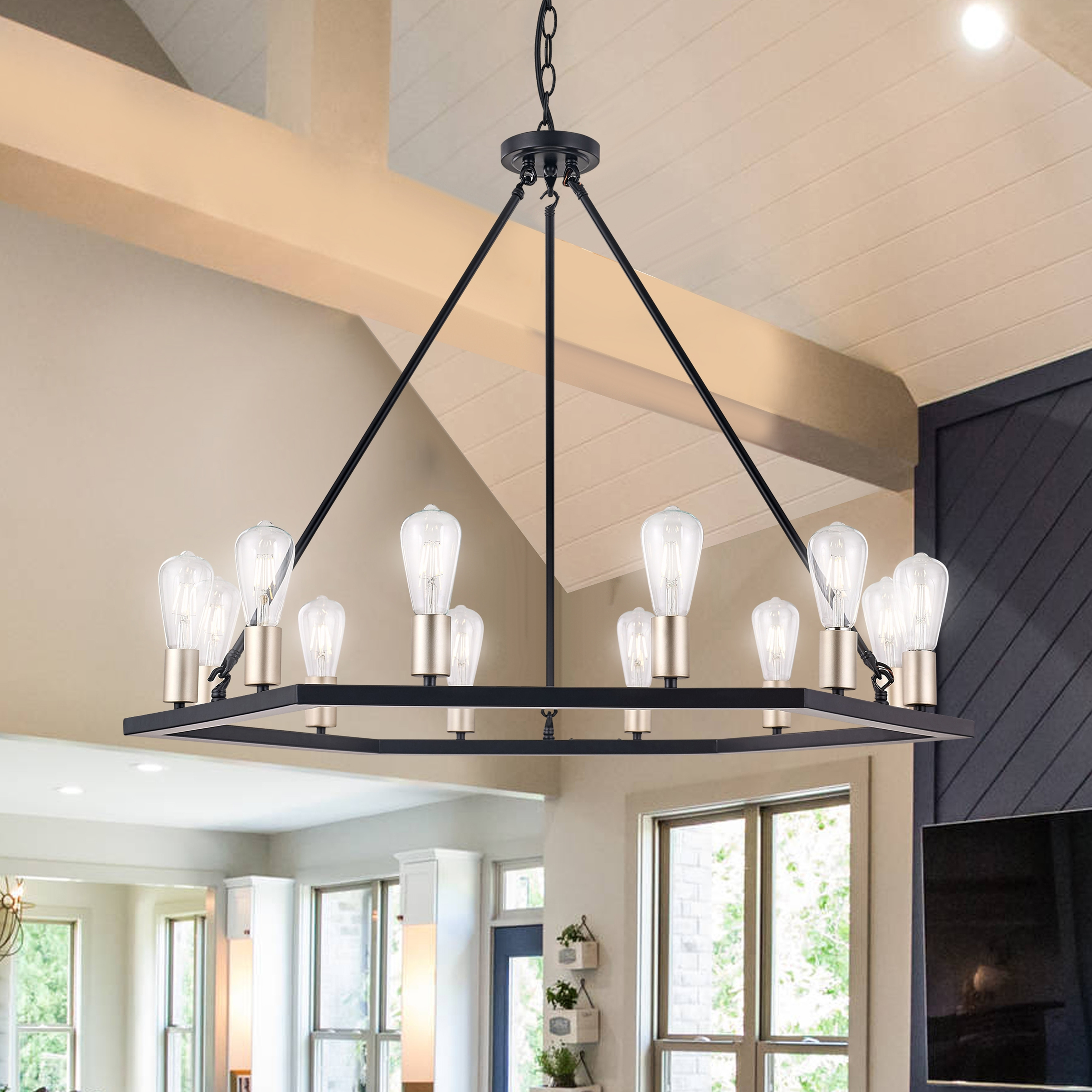 Wagon Wheel 12 Light Farmhouse Candle Style Chandelier 39 37 X39 37 X28 62 Overstock 32610843