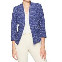 Kasper NEW Blue White Womens Size 12 Open-Front Iris Tweed Jacket