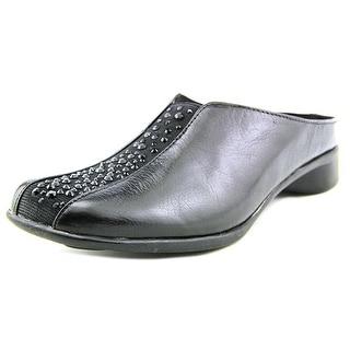 J. Renee Cayla Women N/S Round Toe Leather Black Mules