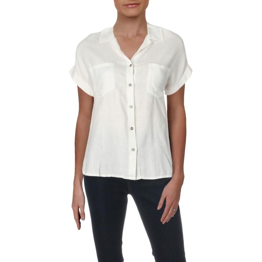 Billy T Womens Top Linen Blend Cuffed - White