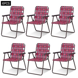 Costway 6pcs Folding Beach Chair Camping Lawn Webbing Chair Lightweight 1 Position Red