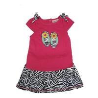 Carter's Baby Girls Fuchsia Top Black Zebra Pattern 2 Pc Skirt Outfit 12-24M