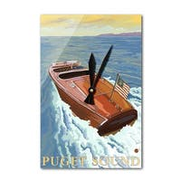 Puget Sound WA - Chris Craft Boat - LP Artwork (Acrylic Wall Clock) - acrylic wall clock