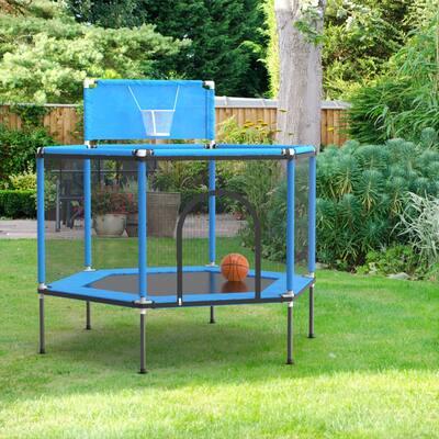 """61.8"""" Kids Trampoline with Satey Enclosure & Basketball Hoop"""
