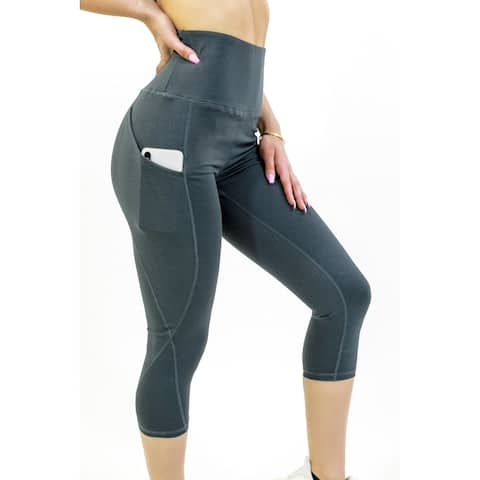 Seajoy Athletic High-Waisted Capri Leggings with Hip Pockets