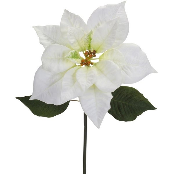 Pack of 6 Elegant White Poinsettia Stem Flowers 26""