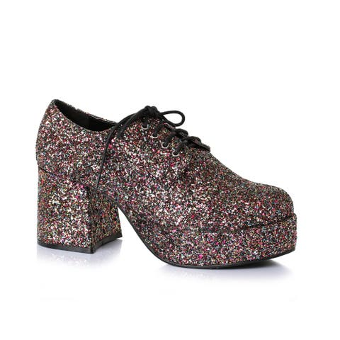 "Mens Disco Platform 3"" Heel Glitter Pimp Shoes"