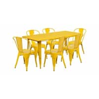 """Offex 31.5"""" x 63"""" Rectangular Yellow Metal Indoor Table Set with 6 Stack Chairs  [OF-ET-CT005-6-30-YL-GG]"""