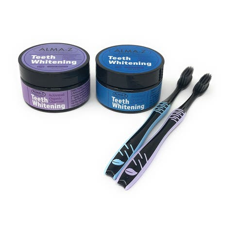 Alma-Z Activated Charcoal Teeth Whitening Powder Kit With Toothbrush Set, Value Pack of 2 - multi