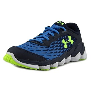 Under Armour BGS Micro G Spine Disrupt Youth Round Toe Leather Blue Running Shoe