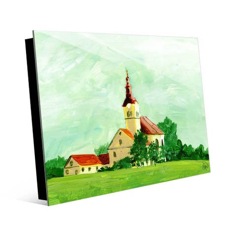 Kathy Ireland Austrian Church in Summertime Watercolor on Acrylic Wall Art Print