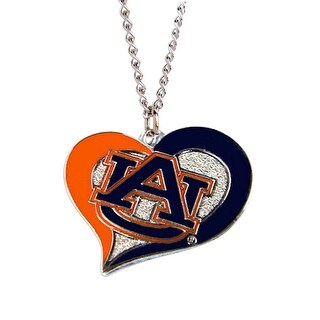 Auburn Tigers Swirl Heart Necklace NCAA Charm Gift